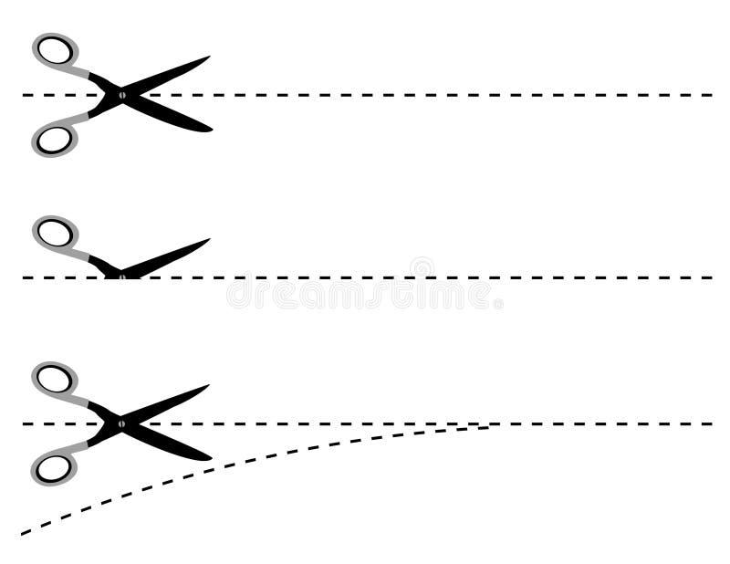 Scissors cut lines vector illustration
