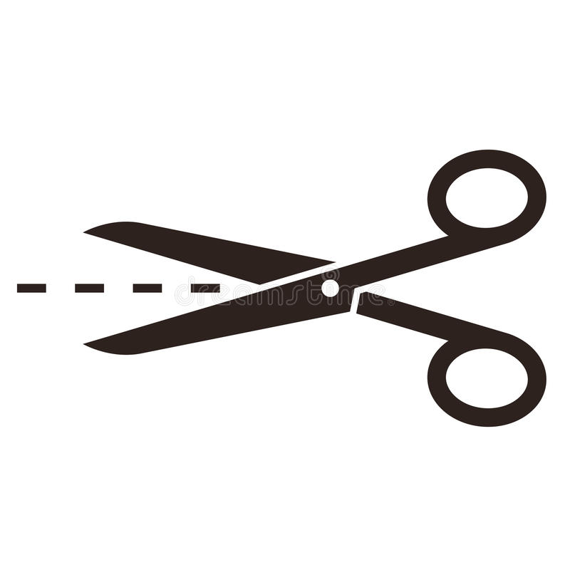 Scissors with cut lines royalty free illustration