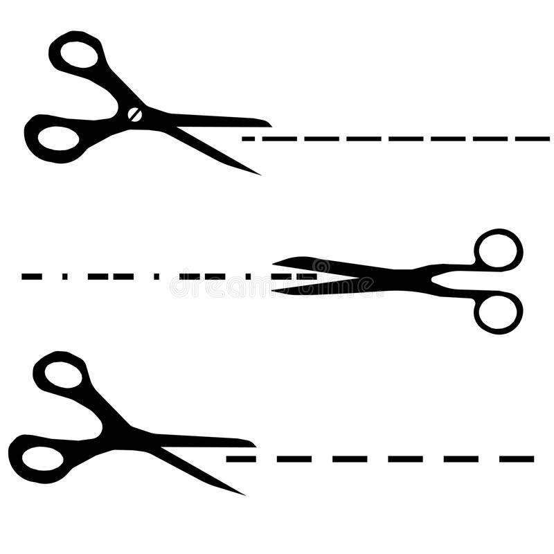 Scissors with cut lines templates. Vector scissors with cut lines templates to choose from stock illustration