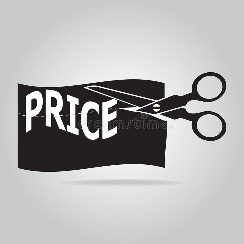 Scissors cut off price label icon. Vector illustration vector illustration