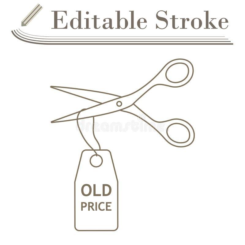 Scissors Cut Old Price Tag Icon. Editable Stroke Simple Design. Vector Illustration vector illustration
