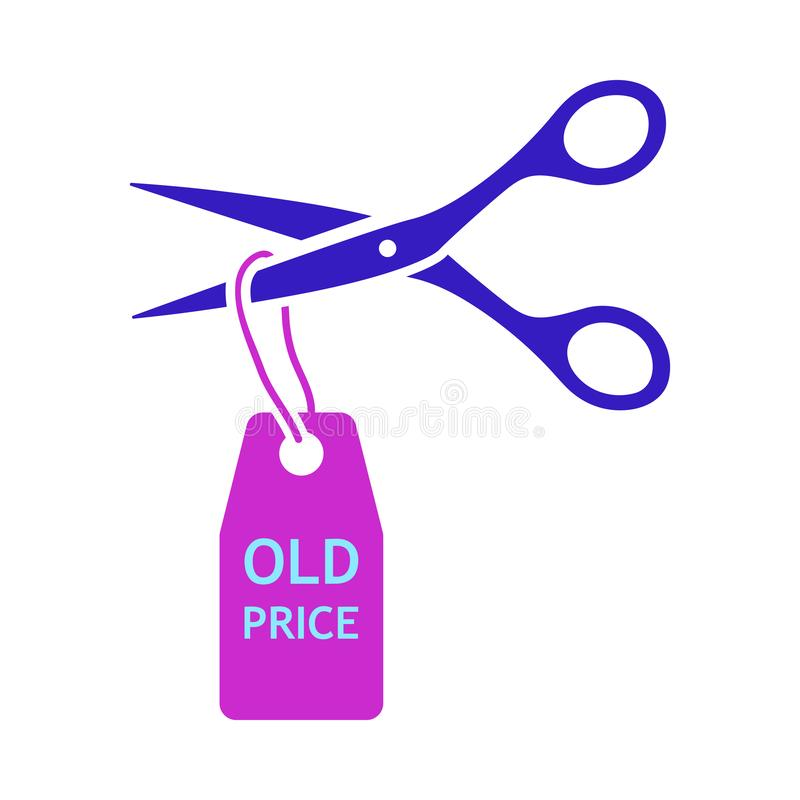 Scissors Cut Old Price Tag Icon. Flat Color Design. Vector Illustration royalty free illustration