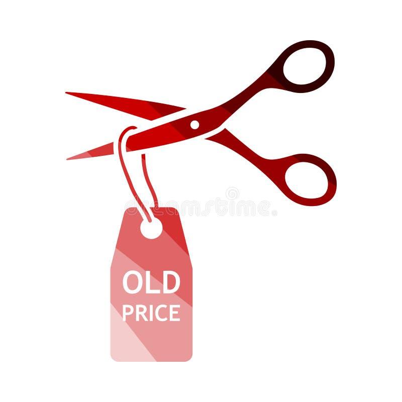 Scissors Cut Old Price Tag Icon. Flat Color Ladder Design. Vector Illustration stock illustration