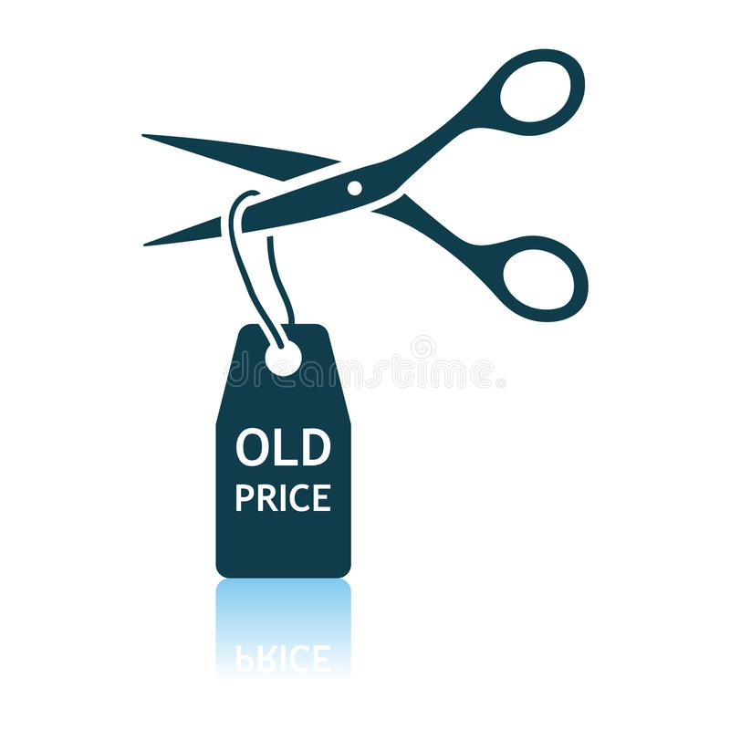 Scissors Cut Old Price Tag Icon. Shadow Reflection Design. Vector Illustration royalty free illustration