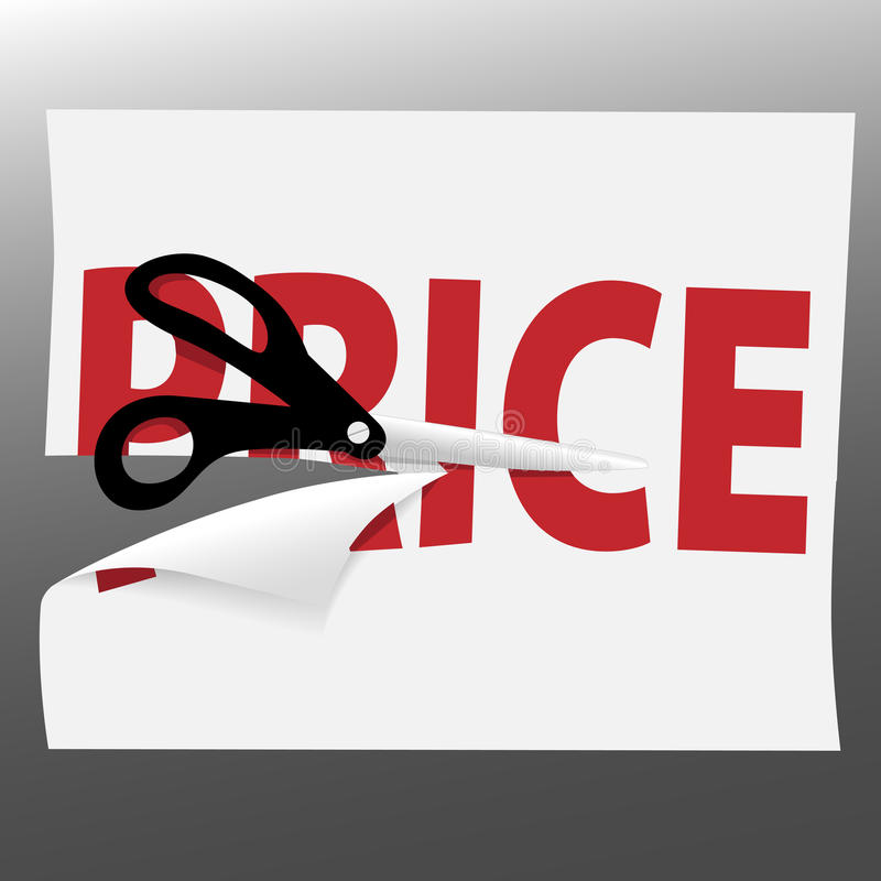 Scissors cut PRICE symbol on sale ad page. A pair of black utility scissors cut a red PRICE for a sale on a page curl stock illustration