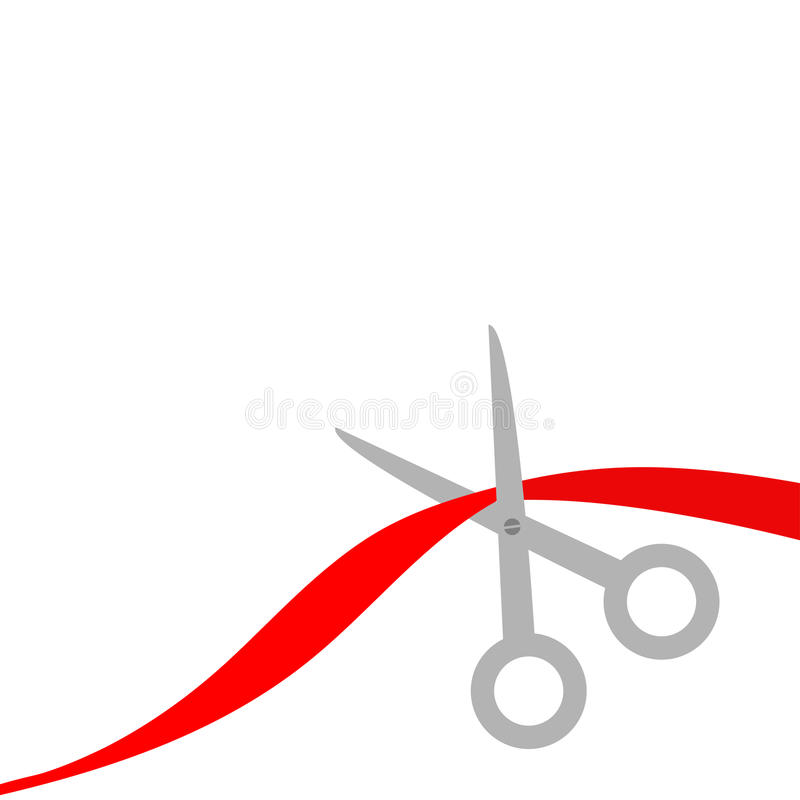 Scissors cut the red ribbon. Isolated. Flat design style. stock illustration