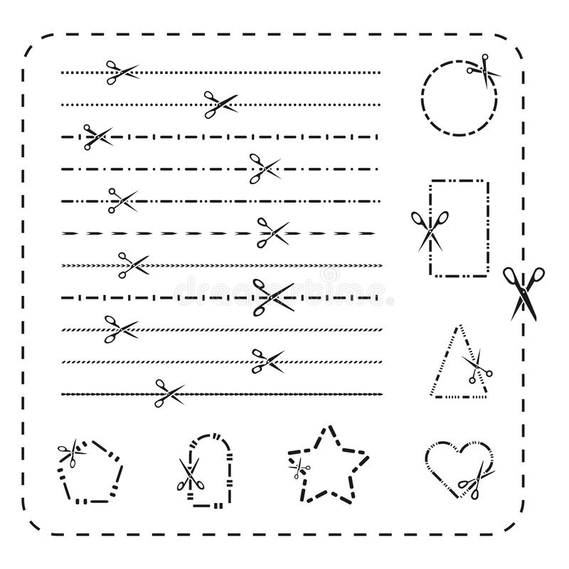 Scissors cutout line icons. Vector dashed and dotted cutting paper lines for design royalty free illustration