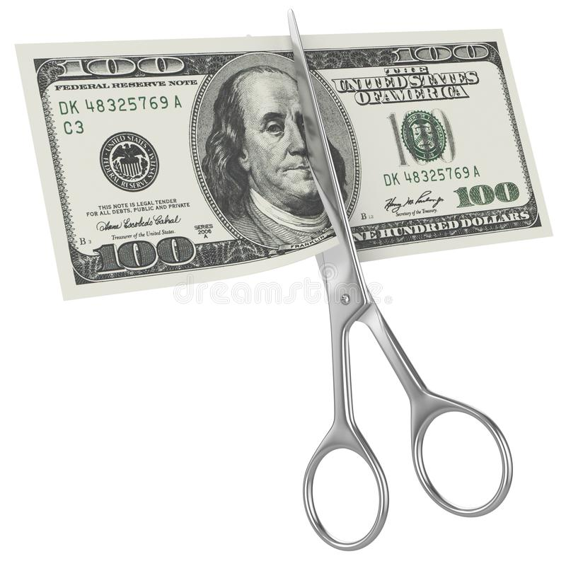Scissors Cuts Hundred American Dollar Royalty Free Stock Images