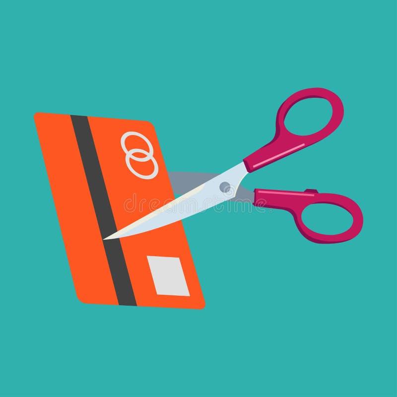 Scissors cutting credit card vector icon illustration stock illustration
