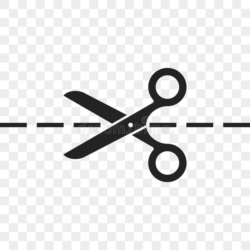 Scissors cutting line vector icon. Of scissors and dividing cut dash lines stock illustration