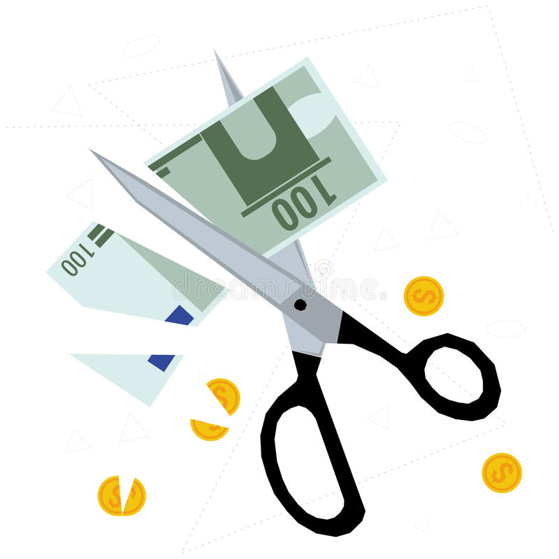 Scissors cutting money - concept of budget cuts. Scissors cutting banknote and coins - concept of budget cuts, financial crisis, debt and bankruptcy. Vector royalty free illustration
