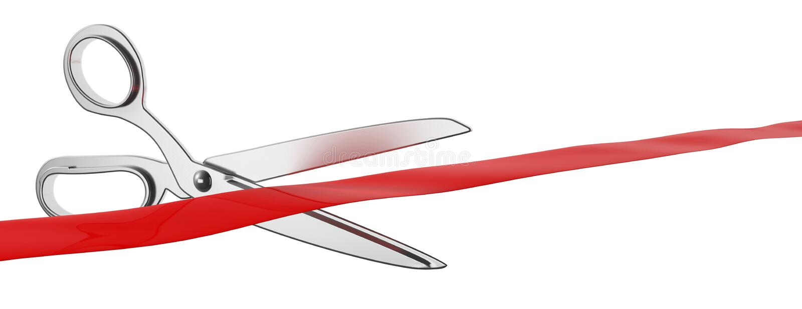 Scissors cutting red silk ribbon isolated cutout against white background, banner. 3d illustration. Grand opening concept. Scissors cutting red silk ribbon vector illustration