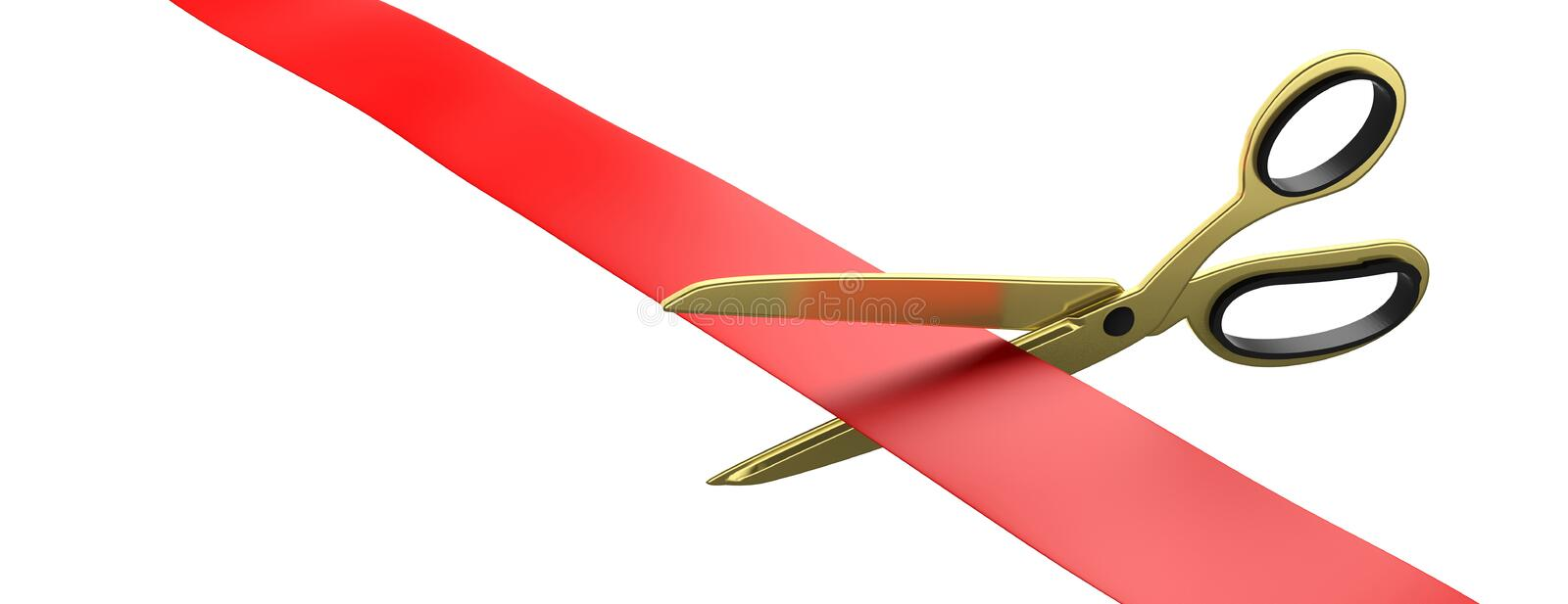 Scissors cutting red silk ribbon isolated cutout against white background, banner. 3d illustration. Grand opening concept. Gold scissors cutting red silk ribbon vector illustration