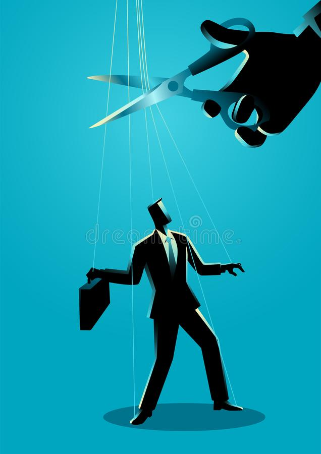 Scissors cutting the strings attached to businessman. Giant hand with scissors cutting the strings attached to businessman. Freedom, independent, liberation royalty free illustration
