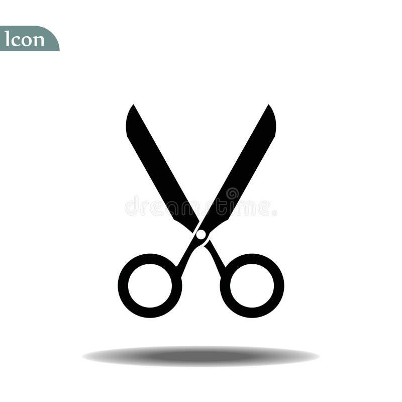 Scissors el ejemplo del vector del icono Corte el concepto con las tijeras abiertas S?mbolo del logotipo del utensilio o del pelu ilustración del vector