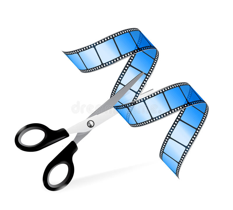 Scissors and film strip as video editing concept. On white vector illustration