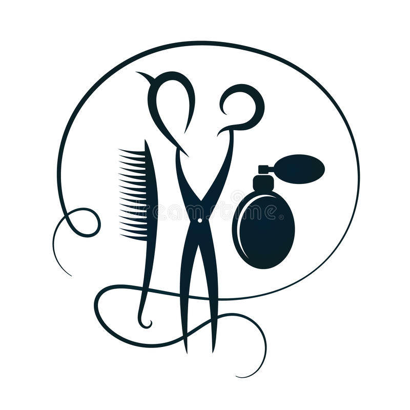 Scissors and hairbrush for hairdressers silhouette. Scissors and raschestka for hair and beauty salon silhouette royalty free illustration