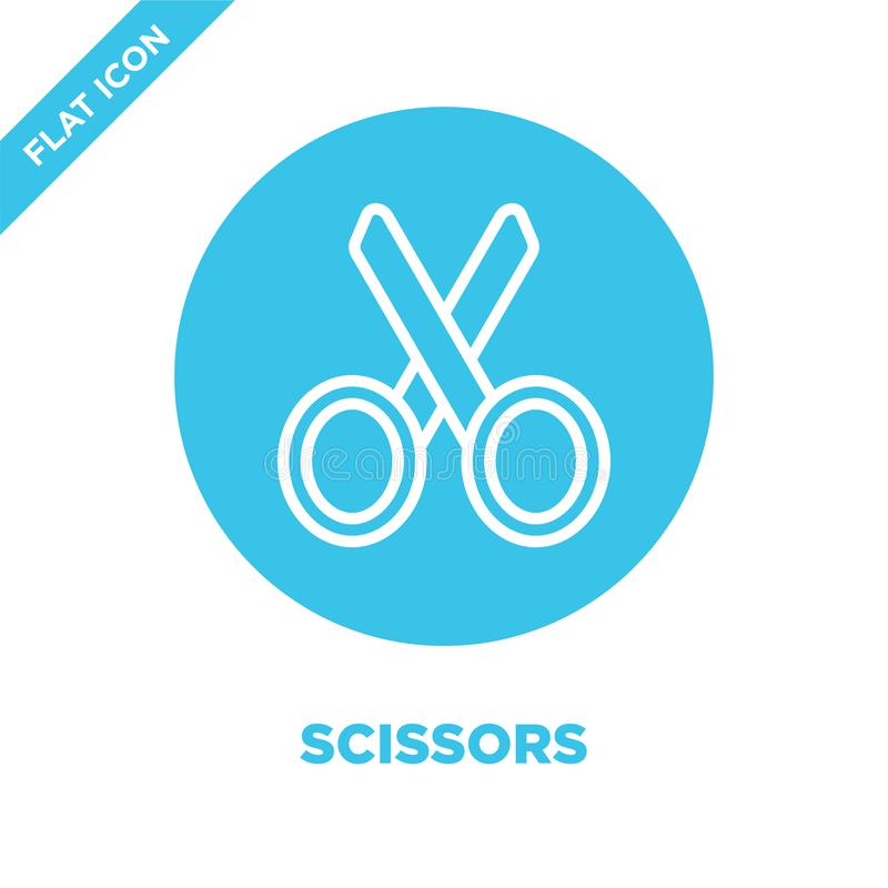 Scissors icon vector from stationery collection. Thin line scissors outline icon vector  illustration. Linear symbol for use on. Web and mobile apps, logo vector illustration