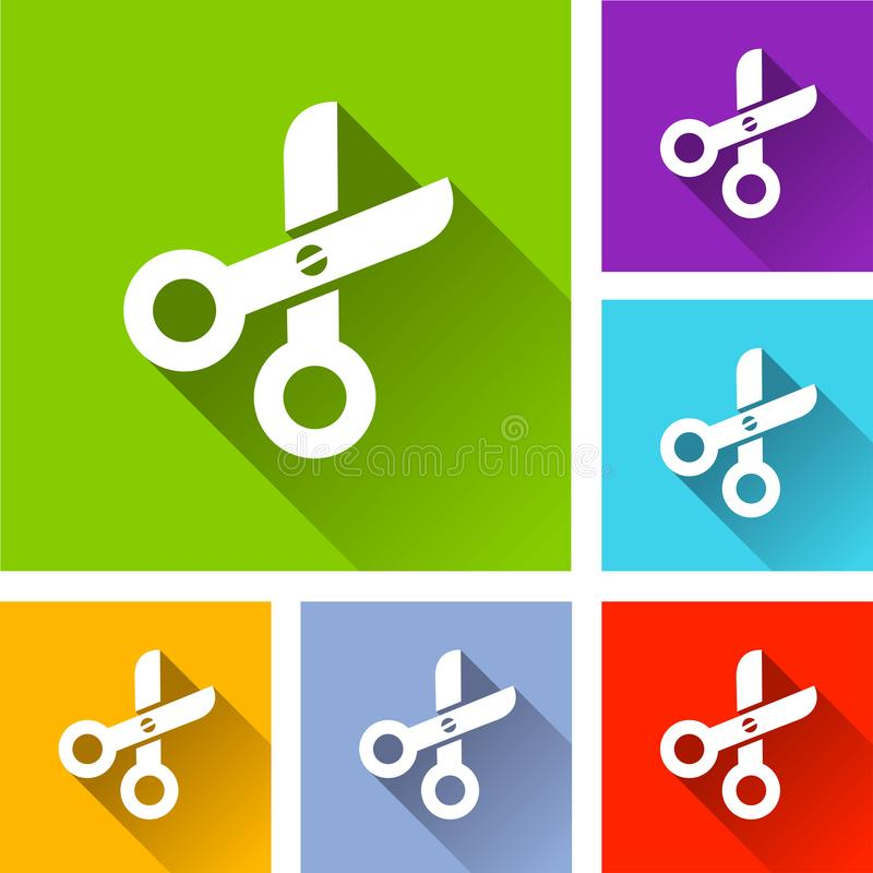 Scissors icons with long shadow stock illustration