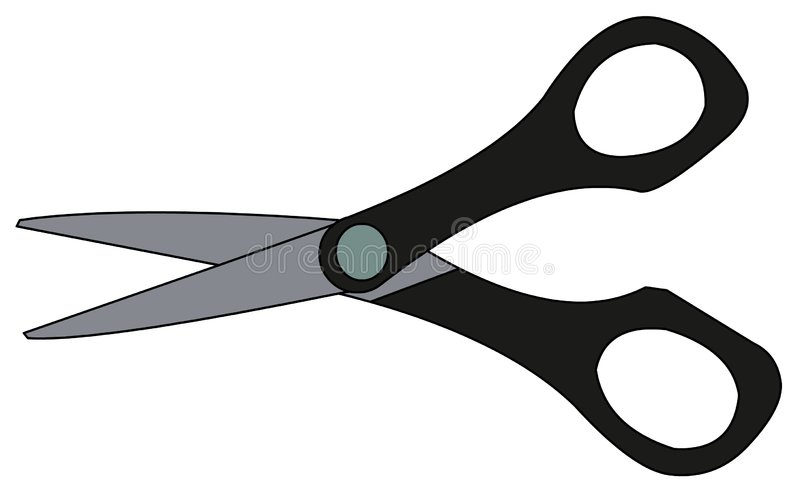 Scissors Illustration. Smal black scissors, vector illustration royalty free illustration