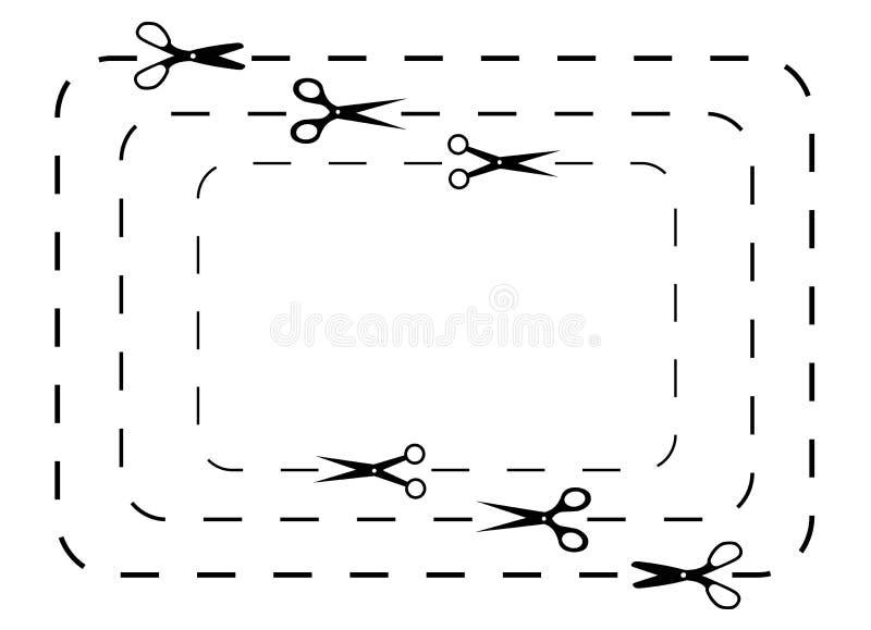 Scissors linhas de corte ilustração royalty free