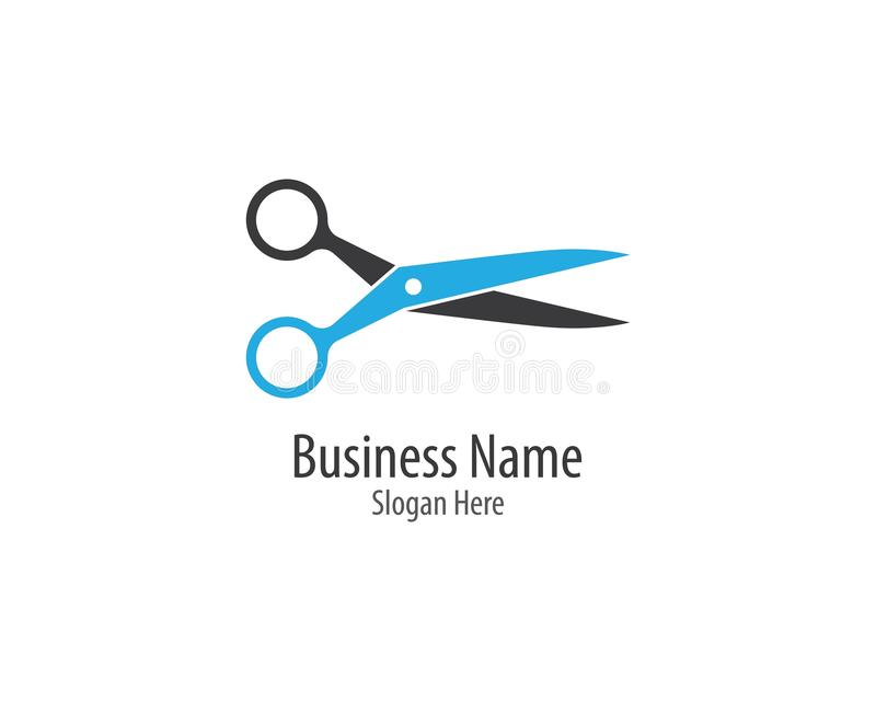 Scissors logo template vector icon illustration. Design, background, barber, black, blade, care, cross, cut, cutting, drawing, edge, equipment, fashion, graphic royalty free illustration