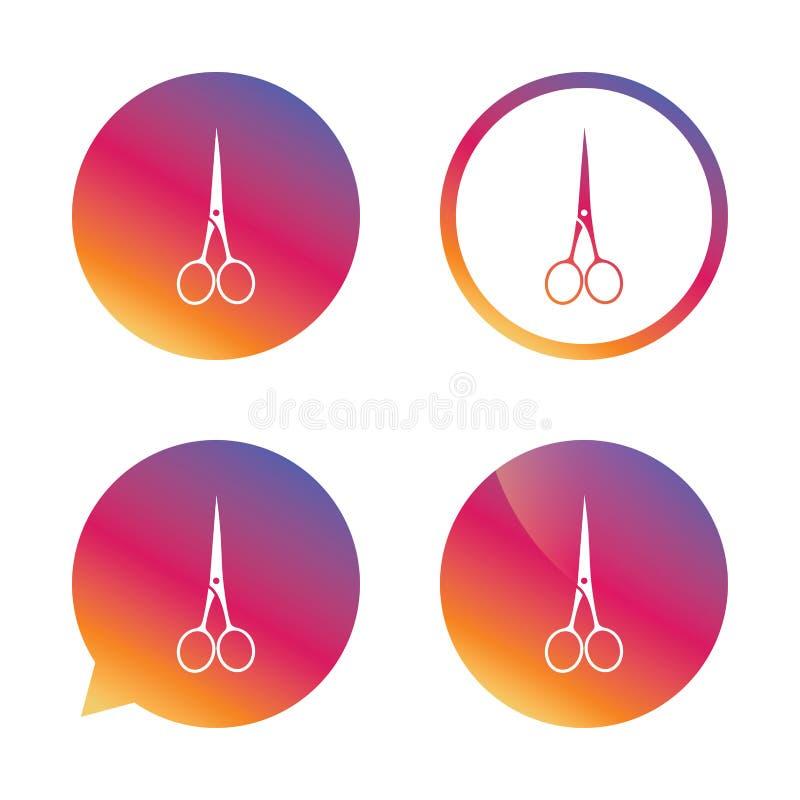 Scissors o ícone fechado do cabeleireiro Símbolo do alfaiate ilustração royalty free