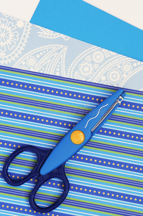 Scissors and paper, scrapbooking stock images