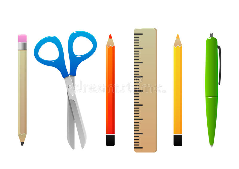 Scissors pencil line pen for school stock photos