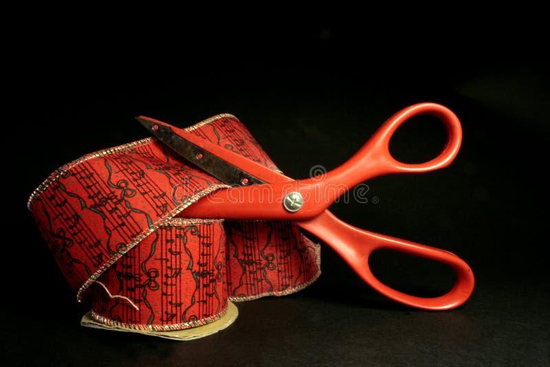 Scissors and ribbon royalty free stock photos