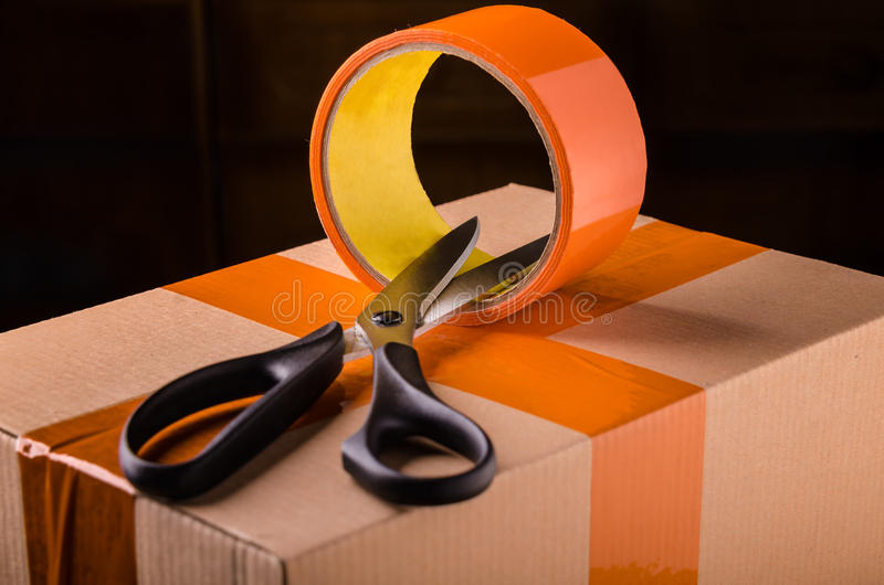 Download Scissors And Scotch Tape Box Stock Photo - Image: 37530330