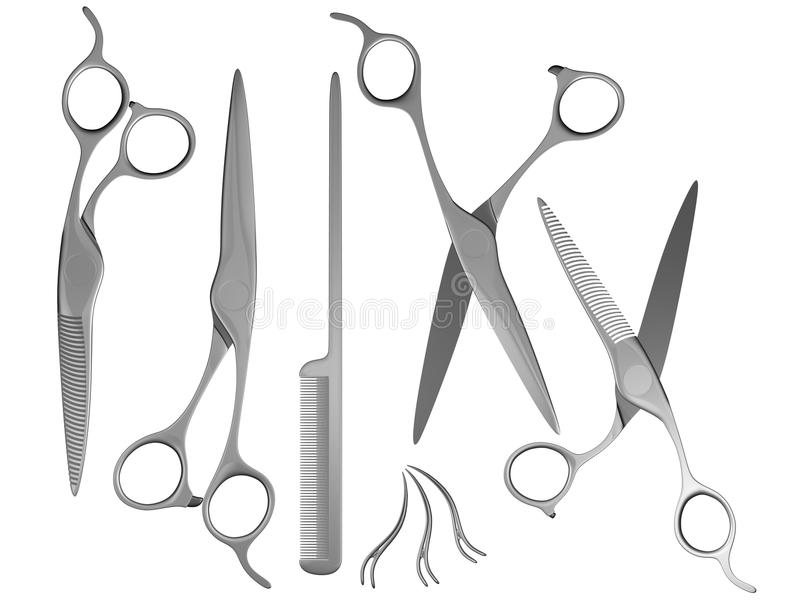 Scissors Set And Comb Royalty Free Stock Photography