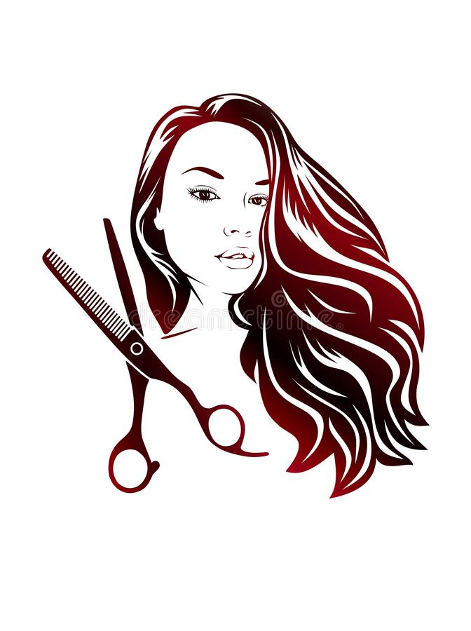 Scissors and silhouette of a beautiful lady with fluttering hair for beauty salons.Vinil sticker. royalty free illustration
