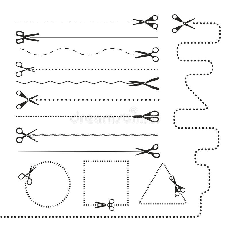 Free Scissors Silhouettes Dividers Royalty Free Stock Photography - 34915577