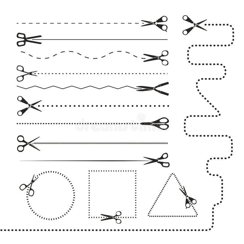 Scissors silhouettes dividers vector illustration