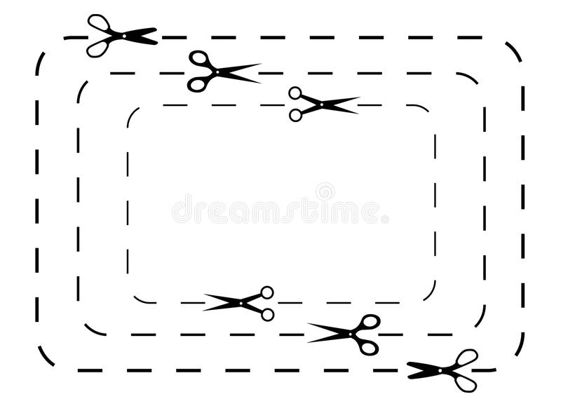 Scissors snittlinjer royaltyfri illustrationer