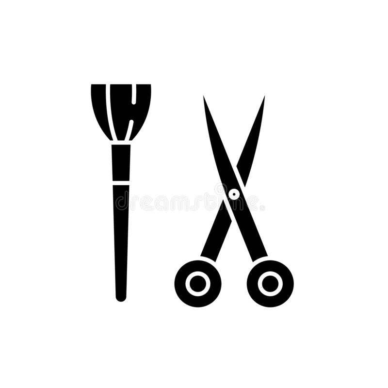 Scissors and visagiste brush black icon, vector sign on isolated background. Scissors and visagiste brush concept symbol. Scissors and visagiste brush black icon stock illustration