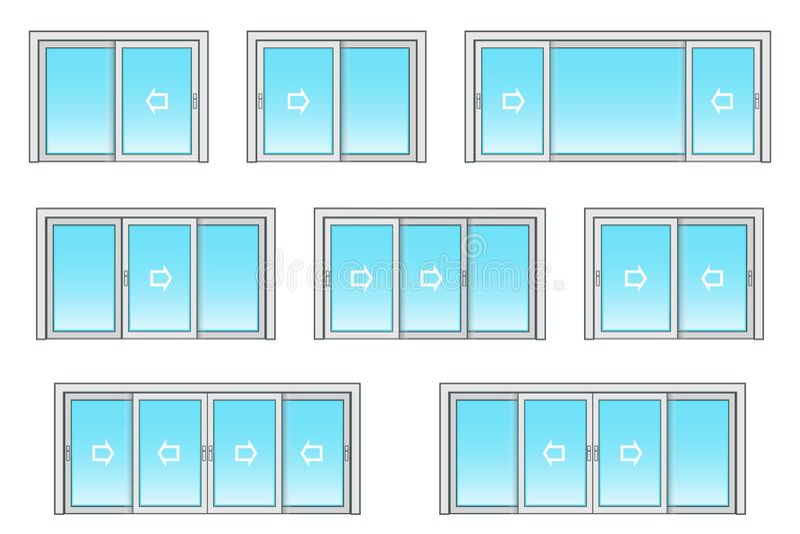 Scivolamento delle dimensioni della porta del patio illustrazione di stock