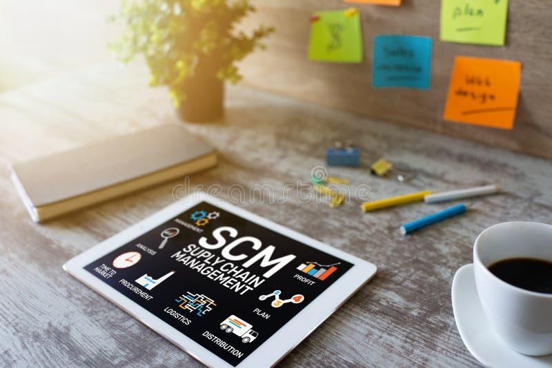 SCM - Distributionskedjaledning och begrepp för affärsstrategi på skärmen royaltyfria foton