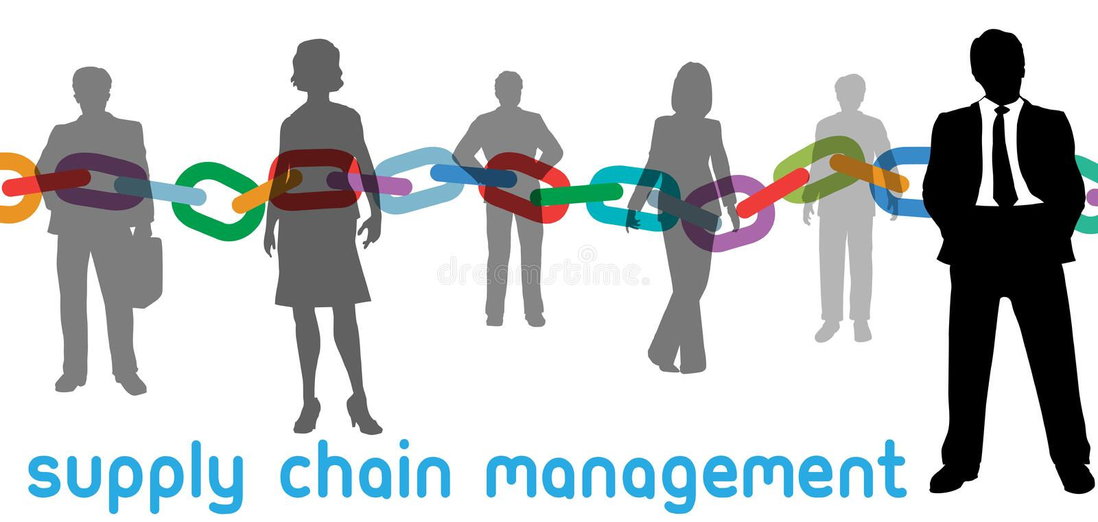 SCM Supply Chain Management business people vector illustration