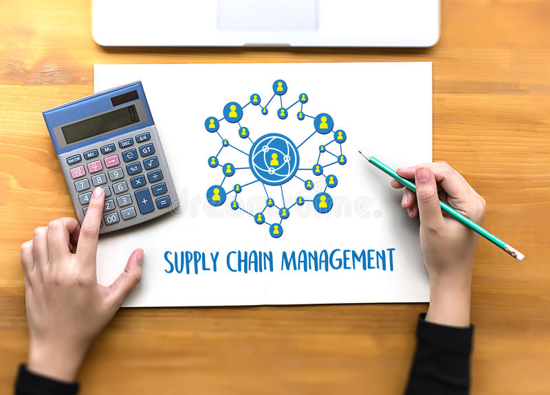 SCM Supply Chain Management concept Modern people doing business. Graphs and charts being demonstrated royalty free stock photography