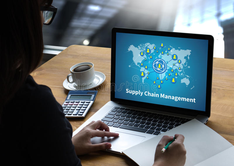 SCM Supply Chain Management concept Modern people doing business. Graphs and charts being demonstrated royalty free stock photos