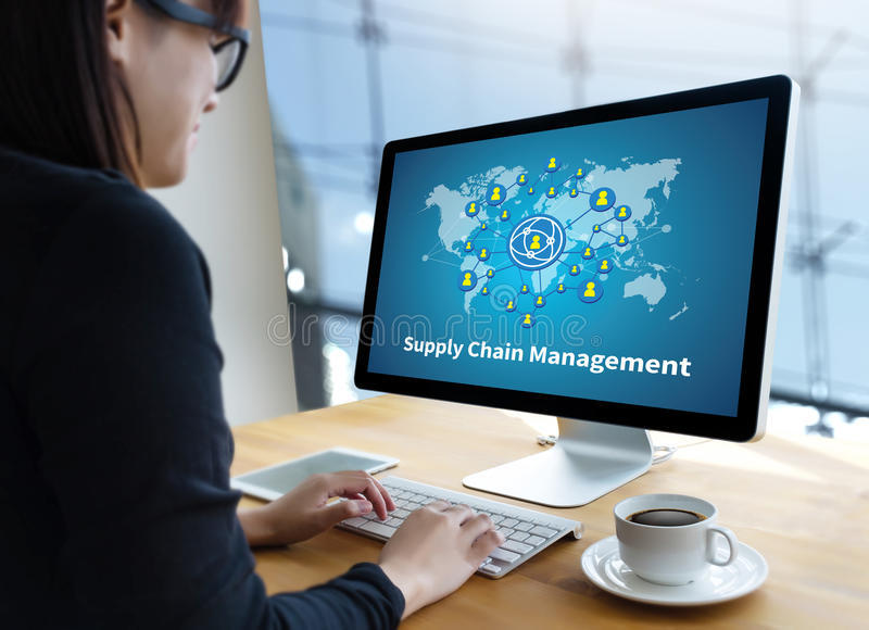SCM Supply Chain Management concept Modern people doing business stock photos