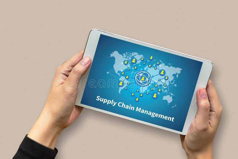 SCM Supply Chain Management concept Modern people doing business. Graphs and charts being demonstrated stock image