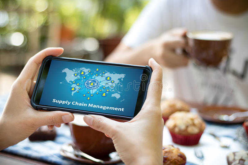 SCM Supply Chain Management concept Modern people doing business royalty free stock photography