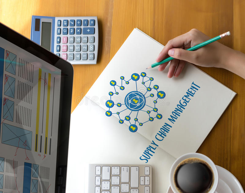 SCM Supply Chain Management concept Modern people doing business. Graphs and charts being demonstrated royalty free stock image