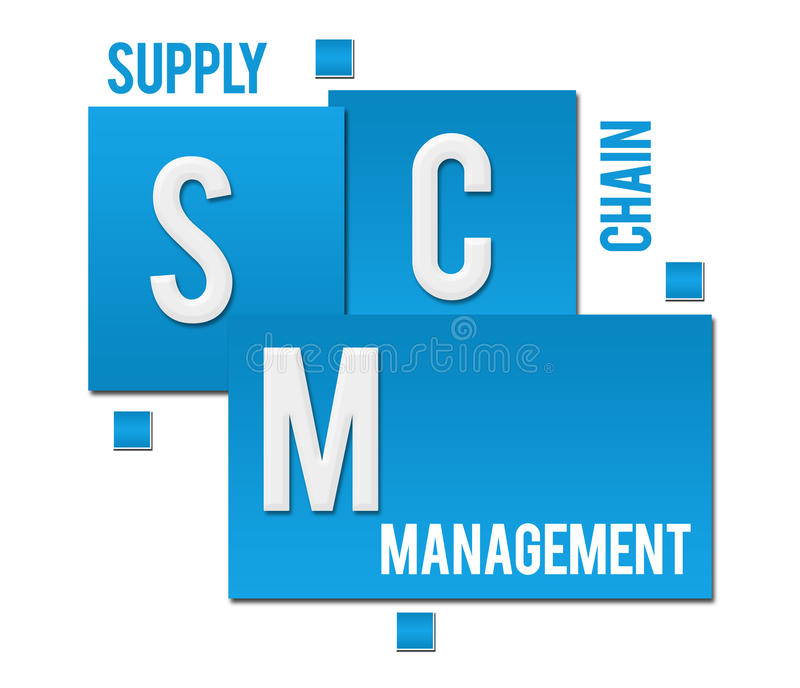 SCM - Testo blu dei quadrati del supply chain management illustrazione di stock