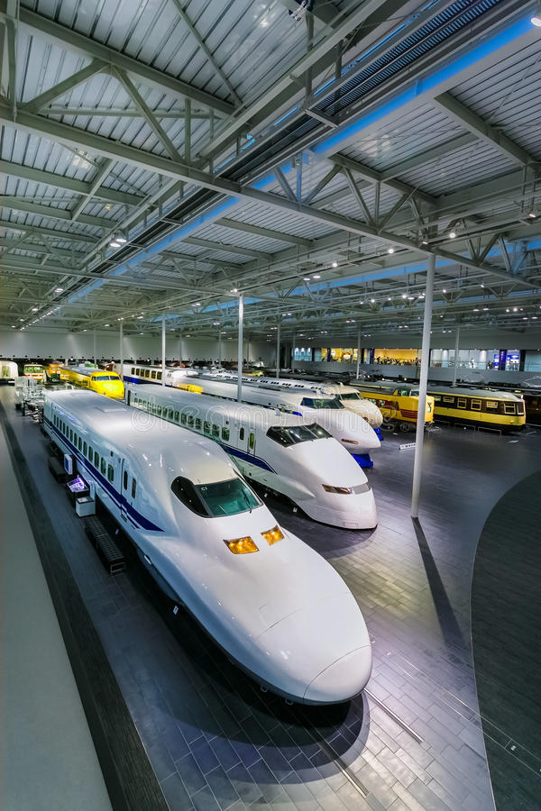 SCMaglev and Railway Park in Nagoya, Japan. NAGOYA, JAPAN - NOVEMBER 18, 2015: The SCMaglev and Railway Park features 39 full-size railway vehicles and one bus royalty free stock images