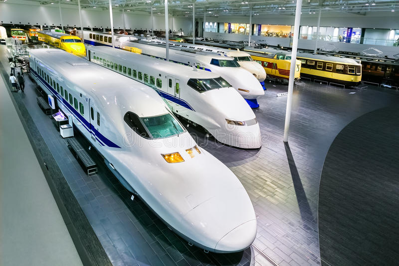 SCMaglev and Railway Park in Nagoya, Japan. NAGOYA, JAPAN - NOVEMBER 18, 2015: The SCMaglev and Railway Park features 39 full-size railway vehicles and one bus stock photography