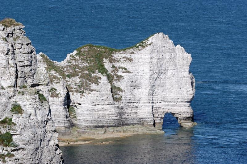 Scogliera di Amont alla costa di Etretat fotografia stock libera da diritti